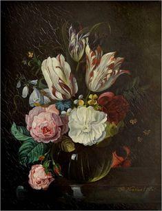 Natureza morta com flores. Cerca de 1800. Óleo no painel. Jan Frans van Dael (Antuérpia, Bélgica, 27/05/1764 - 20/03/1840, Paris, França).