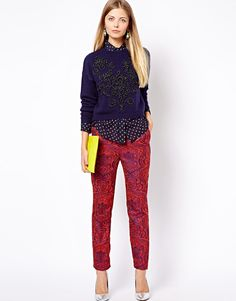ASOS Pants in Textured Paisley