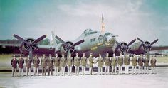 Bombardment Group senior Pilots pose in front of Boeing at RAF Alconbury, England, after a successful mission to Hülser Berg Germany in late June Equipped with radar, this aircraft flew several missions as the lead aircraft of the group. B 17, Air Force Bases, Vintage Airplanes, Air France, Nose Art, Military Aircraft, World War Two, Wwii, Pilots