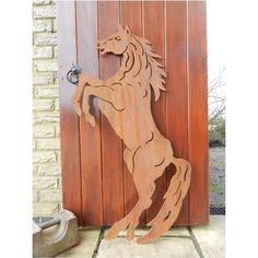 Metal Horse Sculpture / Rusty Metal Horse Garden Decor - Wall Art or hang on your Garden Gate Rustic Wall Art, Wall Art Decor, Pond Decorations, Metal Garden Art, Rusty Metal, Horse Sculpture, Rustic Gardens, Farm Yard, Rustic Design