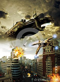 View of a city street, where several alien fighters, coming from a giant spacescraft, attack the city shooting against cars and edifices.