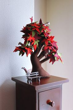 Red maple Tree with bench and birds  Felt tree by Intres on Etsy, $75.00