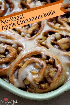 No-Yeast Apple Cinnamon Rolls #recipe- No waiting for the rolls to rise because there is no yeast in this recipe!  These cinnamon rolls turn out just as tender and delicious as their classic counterpart.