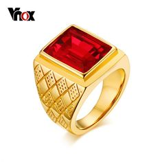 $8.63 - Vnox Men Signet Ring Red Cubic Zirconia Gold Plated Stainless Steel Wedding Band #ebay #Fashion