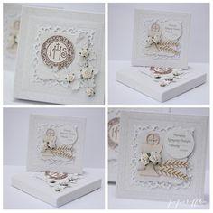 papieroffka kartka kartki ślub zaproszenia chrzest unikatowe wyjątkowe handmade pamiątka chrztu nietuzinkowa kartki ślubne urodzinowe scrapbooking Scrapbook Cards, Scrapbooking, Communion, Holi, Decorative Boxes, Gifts, Tags, Paper, Ideas