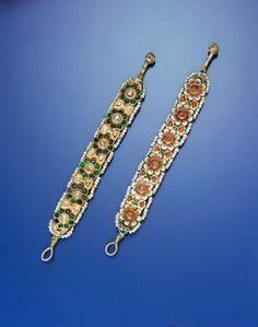 Two diamond and enamel bracelets (2)