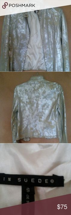 Silver and beige In Suede Jacket Stunning Silver and beige In Suede jacket Size small New without tags In Suede Jackets & Coats