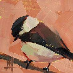 Chickadee no. 613 original bird oil painting by Angela Moulton prattcreekart