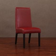 @Overstock - Dining chairs have hardwood frame construction   Furniture features top grain, full aniline-dyed leather in burnt red  Chair legs are finished in dark walnut colorhttp://www.overstock.com/Home-Garden/Monaco-Burnt-Red-Leather-Dining-Chairs-Set-of-2/4323750/product.html?CID=214117 $217.99