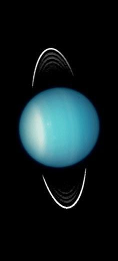 Uranus: Nobody even knew Uranus had rings until 1977, when a team of American astronomers observed the planet as it passed in front of a star. Hubble's photographs of Uranus' rings contributed to our knowledge of how many exist, 13 as of 2008. In this image, the rings appear as two spikes above and below the planet. Earthbound astronomers see the rings' edge only every 42 years as the planet follows an 84-year orbit about the Sun.