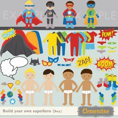 """build your own superhero"" digital clip art/paper dolls--printable, $7.00, via Etsy."