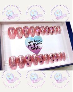 Short Press On Nails, Pink Glitter, Coffin, Etsy Seller, Butterfly, Create, Butterflies