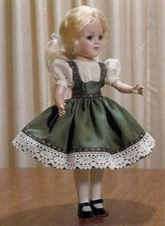 """Vintage Crochet PATTERN 14/"""" Doll Clothes Lace Party Dress Mary Hoyer Judy"""