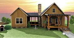 Add as you go cabin plan. Starts with main house then add screen porch and additional room-