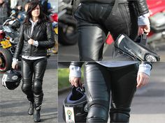 black leather biker girl with Premier helmet.