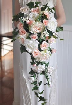 AerWo Bridal Bouquets - White Wedding Flower Bouquet Handmade Rose Rhinestone Pearl Bridal Bouquet Artificial Silk Flower with Lace - Being the Most Beautiful Bride - Ideal Wedding Ideas Artificial Wedding Bouquets, Cascading Wedding Bouquets, Silk Bridal Bouquet, Blush Bouquet, Silk Flower Bouquets, Cascade Bouquet, Wedding Flower Arrangements, Bride Bouquets, Flower Bouquet Wedding
