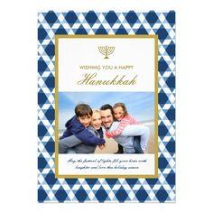 Star Of David Menorah Hanukkah Photo Greetings Personalized Invitation