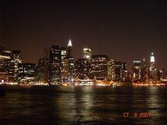 Manhattan at night. Pic taken from Brooklyn. Manhattan, Places Ive Been, New York Skyline, Brooklyn, Beautiful Places, Bucket, Spaces, Night, Travel
