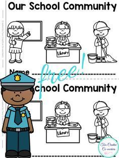 FREE Community Helpers / Workers Printable Minibook activity for Kindergarten or First Grade.