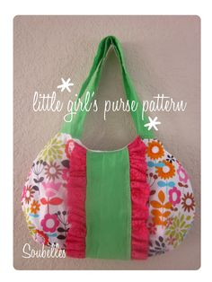 Little girls purse sewing pattern by soubelles on Etsy Sewing Tutorials, Sewing Crafts, Sewing Projects, Sewing Ideas, Cute Purses, Purses And Bags, Purse Patterns, Sewing Patterns, Craft Bags