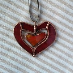 Red Heart Stained Glass OrnamentHeart Home Decor Heart Stained Glass Ornaments, Stained Glass Birds, Stained Glass Christmas, Stained Glass Suncatchers, Stained Glass Projects, Stained Glass Patterns, Red Jewelry, Glass Jewelry, Glass Wall Art
