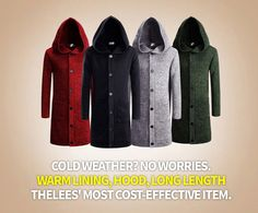 Cold Weather? No Worries. Warm Lining, Hood, Long Length THELEES' Most Cost-Effective Item.