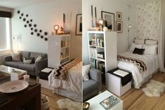 10 ideas para dividir tu monoambiente 10 ideas to divide your studio apartment If the bedroom is in Studio Apartment Layout, Studio Apartment Decorating, Studio Apartment Living, One Room Apartment, Apartment Interior, Decor Room, Bedroom Decor, Home Decor, Bedroom Ideas