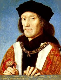 Portrait of King Henry VII of England (1457-1509) English: Portrait clutching the red rose of the house of Lancaster and wearing the collar of the Order of the Golden Fleece