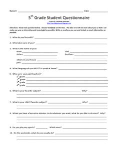 Fifth Grade Freebies - 1st Day Questionaire - Teaching in Room 6