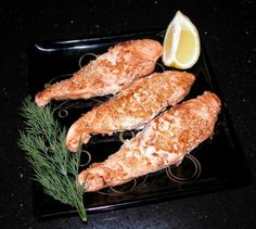 Salmon sesame-coated.