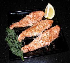 Salmon sesame-coated.