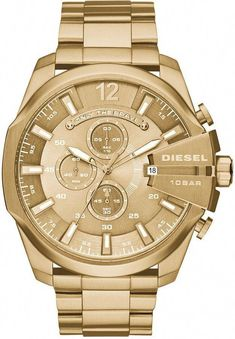 39dff4fd3004 Diesel Men s Chronograph Mega Chief Gold-Tone Stainless Steel Bracelet  Watch 59x51mm DZ4360  blackgoldsilver
