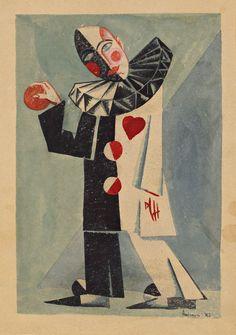 Mikhail Andreenko (1895-1982)    Pierrot with heart (Le pierrot de coeur), 1921