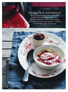 rhubarb // donna hay magazine How Sweet Eats, Sweet Stuff, Stew, Cinnamon, Vanilla, Spices, Magazine, Cooking, Tableware
