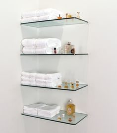 9 Prodigious Tips: Wooden Floating Shelves Bedroom floating shelf office.Floating Shelf Bar Apartment Therapy floating shelf with hooks home.Floating Shelf With Hooks Storage. Glass Corner Shelves, Glass Shelf Brackets, Shelves Over Toilet, Glass Shelves In Bathroom, Bathroom Wall, Bathroom Cabinets, Kitchen Cabinets, Bathroom Storage, Glass Shelves Ikea