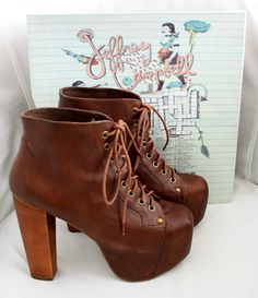 Jeffrey Campbell Lita, brown distressed leather booties
