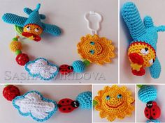 Airplane pacifier clips - personalized pacifier clip - Dummy holder - crochet toy