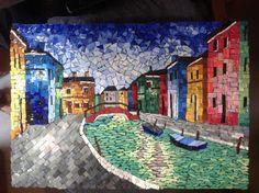 Orsoni Smalti Mosaic Of Burano Venice Italy - cityscape landscape fine art painting Mosaic Glass, Stained Glass, Glass Art, Mosaic Designs, Mosaic Patterns, Mosaic Artwork, Venice Italy, City Photo, The Incredibles