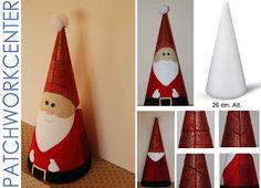 Papá Noel cónico con la ténica de patchwork sin agujas Christmas Ornament Crafts, Handmade Christmas, Decor Crafts, Christmas Diy, Fun Crafts, Christmas Crafts, Diy For Teens, Crafts For Teens, Navidad Diy