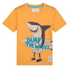 Boy's orange surfer shark print t-shirt