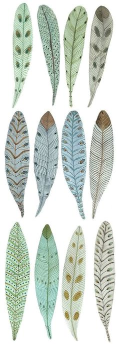 how pretty, i usually dont enjoy drawing feathers, but using color and pattern i. - how pretty, i usually dont enjoy drawing feathers, but using color and pattern in this manner adds - Feather Art, Bird Feathers, Painted Feathers, Feather Painting, Paper Feathers, Feather Vector, Inspiration Art, Art Design, Art Plastique