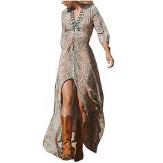 Boho Fashion Summer Long Dress Boho Beach Party V-Neck Vintage Floral Prin