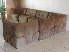 RARE 70s Alberto Rosselli Europoltrona Italy Steel Frame Suede Sectional Sofa | eBay