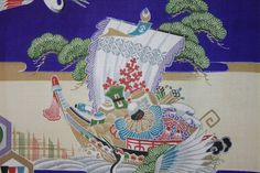 JAPANESE KIMONO FABRIC  Fly Cranes / Treasure by Orientalvintage88 Beautiful ships