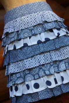 Ruffle Apron Blues half apron skirt apron by SalvageSeamstress, $30.00