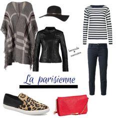 La parisienne: Un look du jour inspiration. La marinière et le bermuda s'accordent parfaitement ensemble: un grand classique. La petite tendance de cet hiver: la cape. Elle se porte très bien au-dessus d'une veste en cuir pour un look encore plus branché.  #lookdujour #marinière #cape