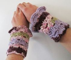 Wrist Warmers Crocheted Purple, Pink and Green Ombre   luvncrafts - Accessories on ArtFire just too cute!