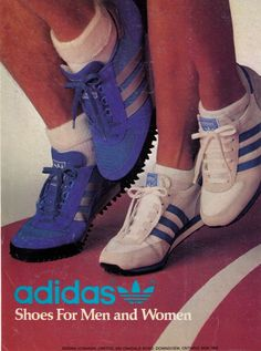 Adidas sneakers were worn both casually and for exercise. The trend is back today. The saw a pop of colour. Adidas Vintage, Adidas Running Shoes, Adidas Sneakers, 1970s Trends, Shoe Advertising, Vintage Shoes, European Fashion, High Top Sneakers, Mens Fashion
