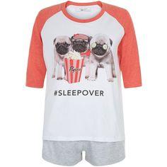 New Look Teens Coral Pug Sleepover Print Pyjama Set ($15) ❤ liked on Polyvore featuring intimates, sleepwear, pajamas and coral