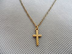 Jewelry bronze metal cross necklace men necklace by giftofthemagi, $1.98
